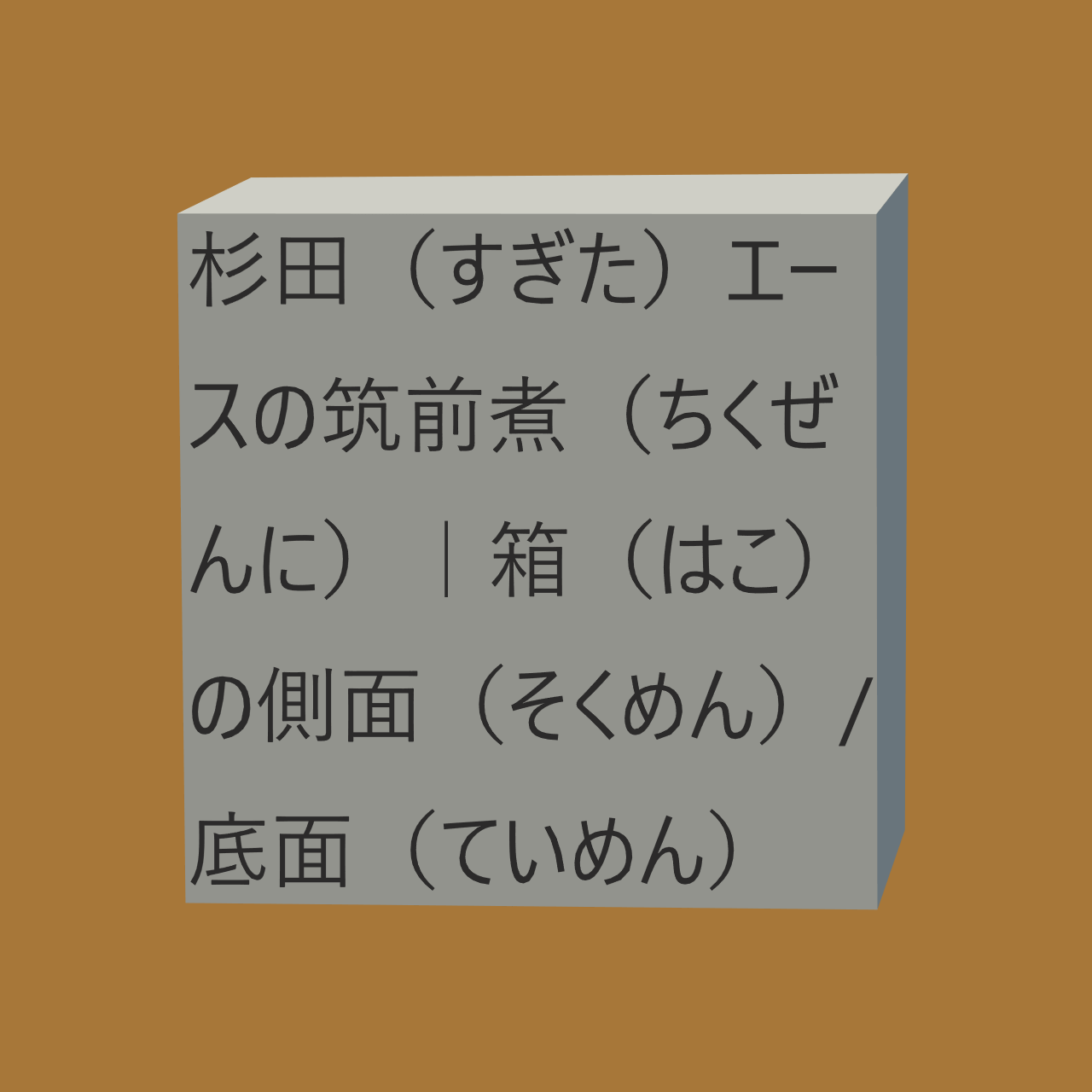 杉田(すぎた)エース株式会社(かぶしきがいしゃ)の筑前煮(ちくぜんに)や箱(はこ)の側面(そくめん)、底面(ていめん)やCAD(キャド)などにかかる画像(がぞう)